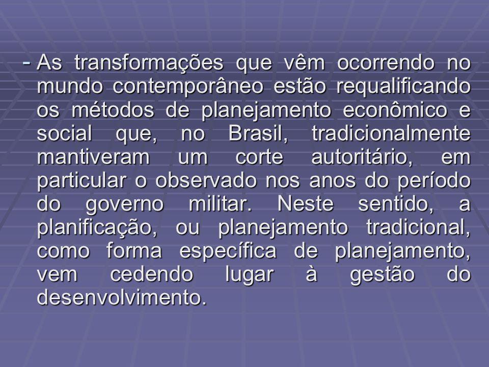 As transformações que vêm ocorrendo no mundo contemporâneo estão requalificando os métodos de planejamento econômico e social que, no Brasil, tradicionalmente mantiveram um corte autoritário, em particular o observado nos anos do período do governo militar.