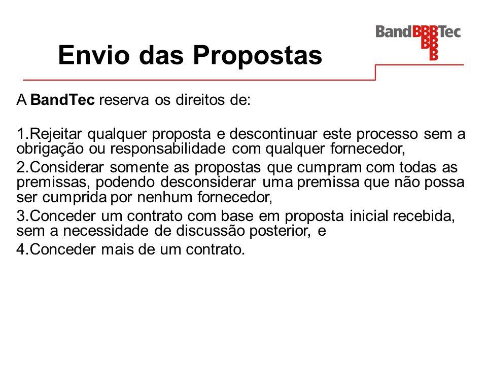 Envio das Propostas A BandTec reserva os direitos de: