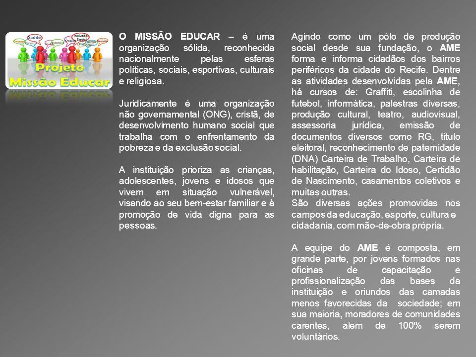 O MISSÃO EDUCAR – é uma organização sólida, reconhecida nacionalmente pelas esferas políticas, sociais, esportivas, culturais e religiosa.