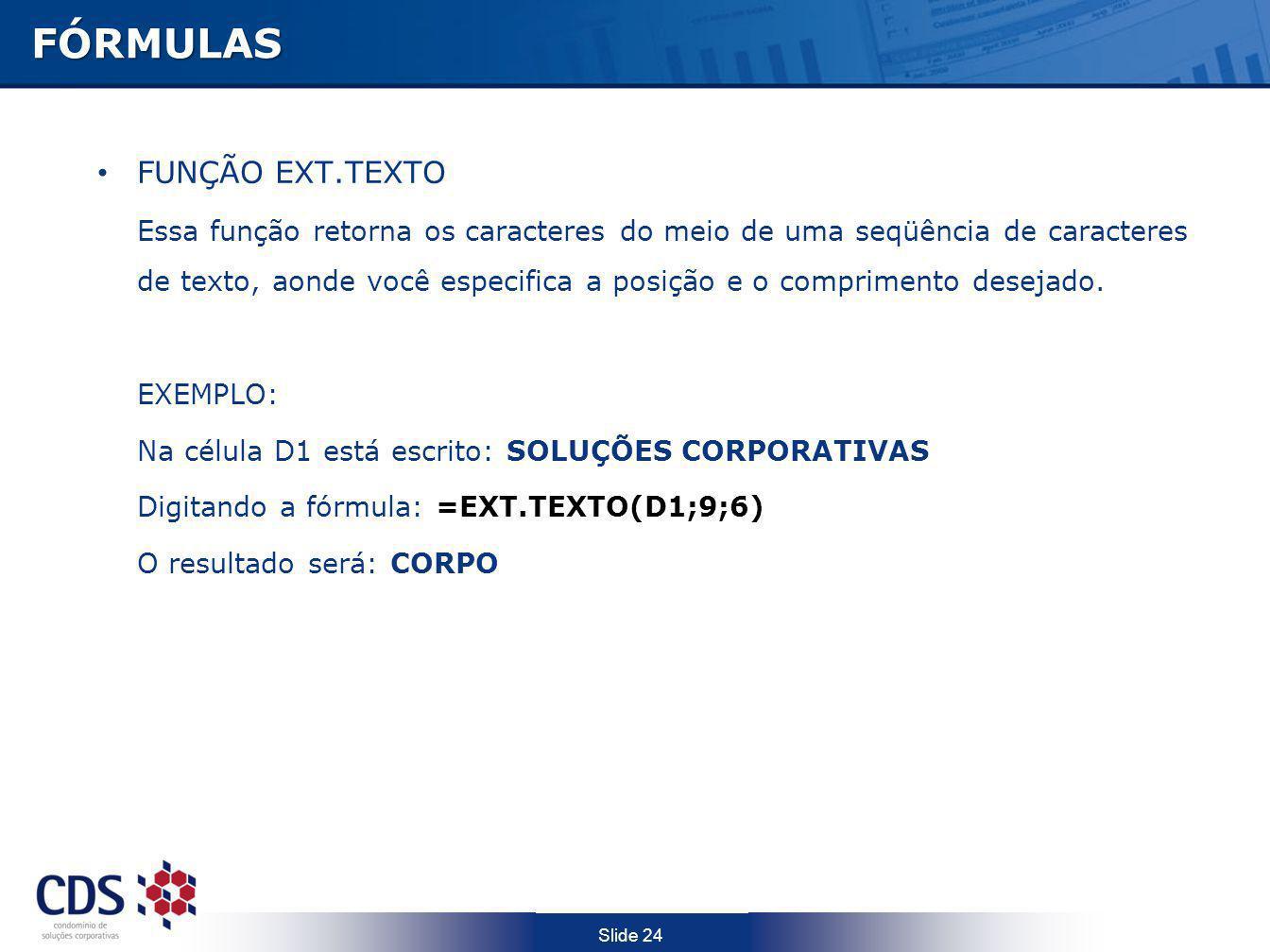 FÓRMULAS FUNÇÃO EXT.TEXTO