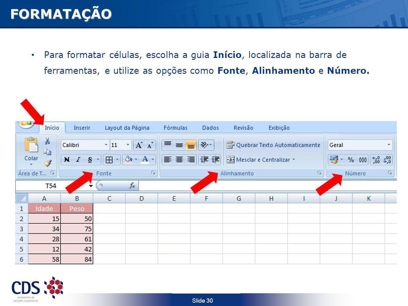FORMATAÇÃO Para formatar células, escolha a guia Início, localizada na barra de ferramentas, e utilize as opções como Fonte, Alinhamento e Número.