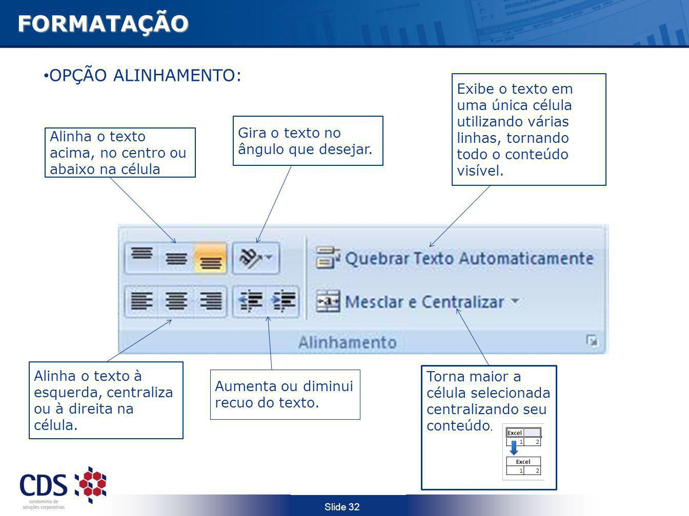 FORMATAÇÃO OPÇÃO ALINHAMENTO: