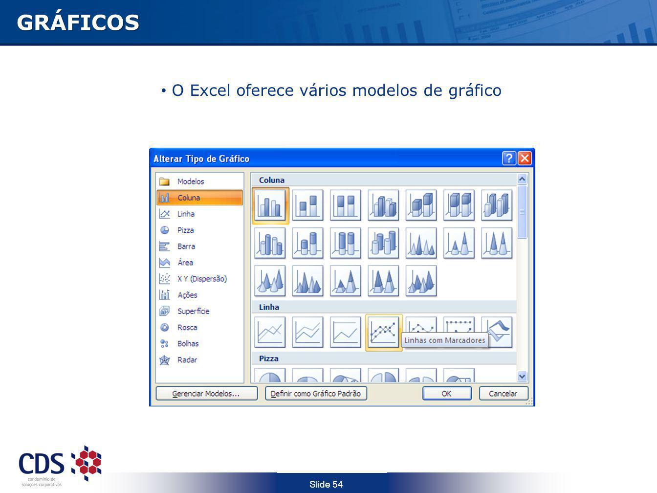 GRÁFICOS O Excel oferece vários modelos de gráfico