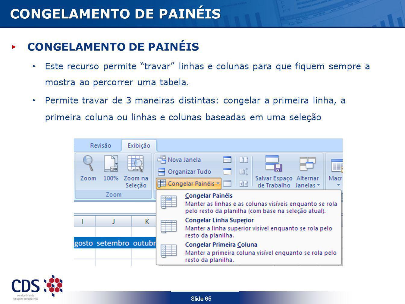 CONGELAMENTO DE PAINÉIS