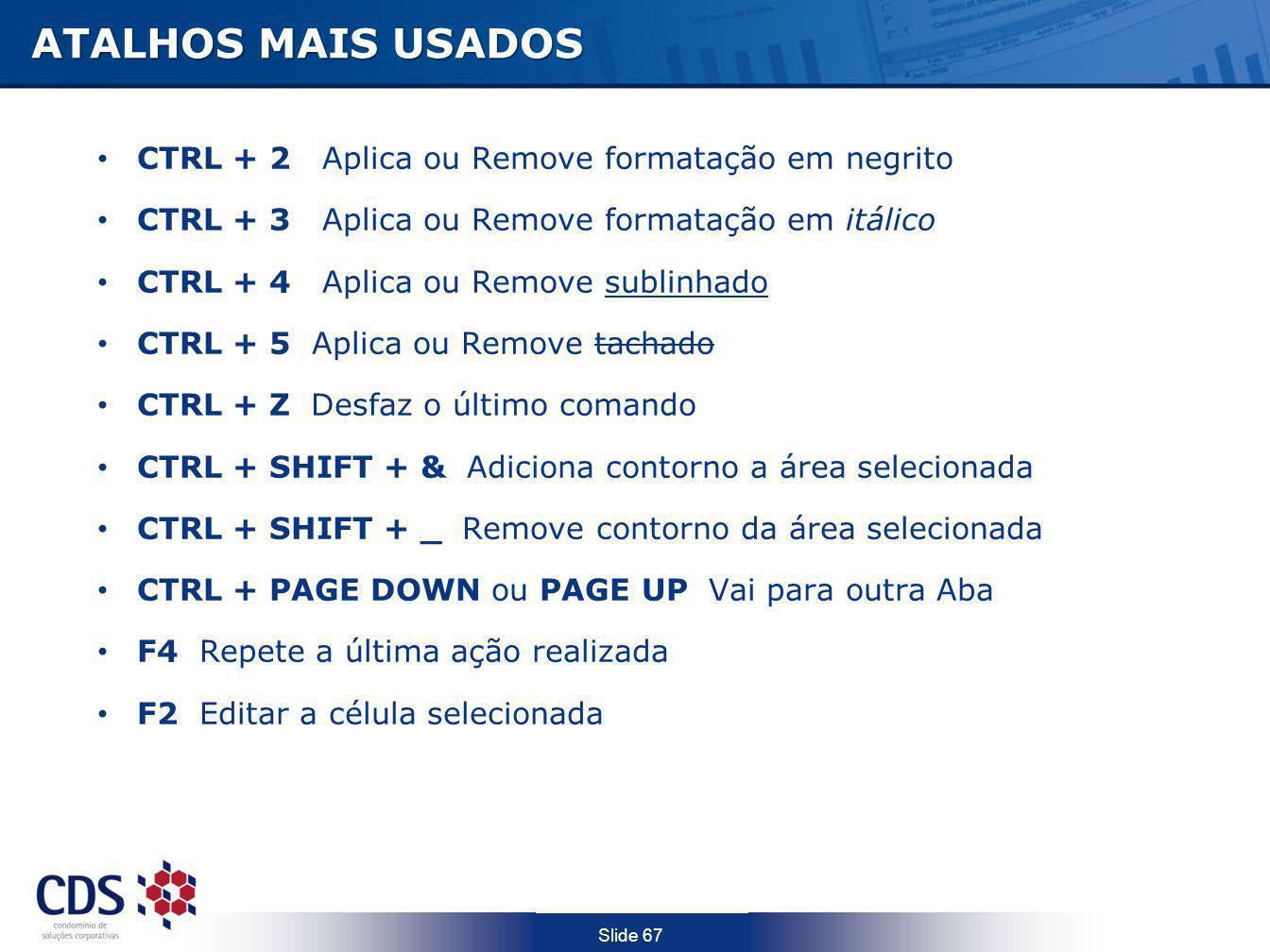 ATALHOS MAIS USADOS CTRL + 2 Aplica ou Remove formatação em negrito