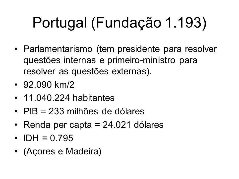 Portugal (Fundação 1.193) Parlamentarismo (tem presidente para resolver questões internas e primeiro-ministro para resolver as questões externas).