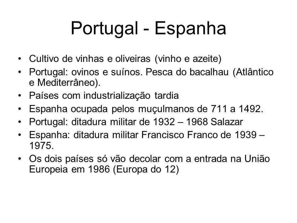 Portugal - Espanha Cultivo de vinhas e oliveiras (vinho e azeite)