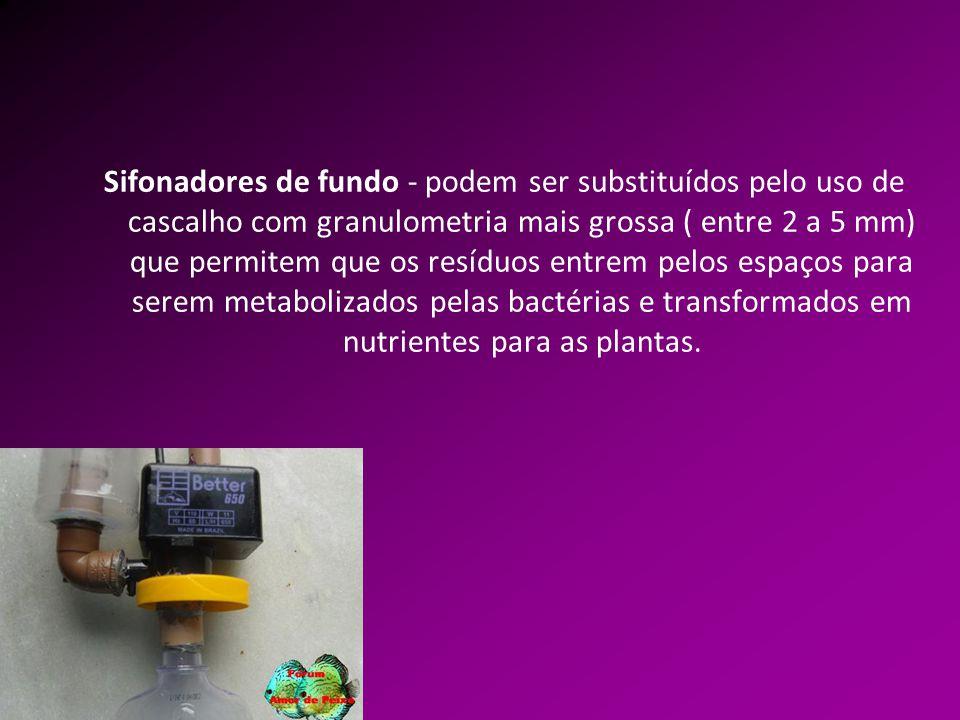 Sifonadores de fundo - podem ser substituídos pelo uso de cascalho com granulometria mais grossa ( entre 2 a 5 mm) que permitem que os resíduos entrem pelos espaços para serem metabolizados pelas bactérias e transformados em nutrientes para as plantas.
