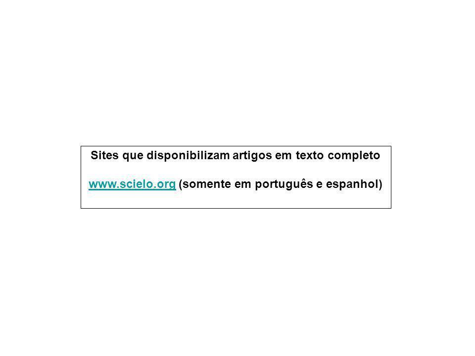 Sites que disponibilizam artigos em texto completo