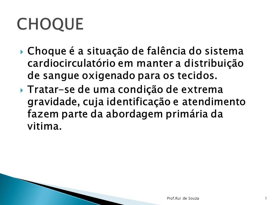 CHOQUE Choque é a situação de falência do sistema cardiocirculatório em manter a distribuição de sangue oxigenado para os tecidos.