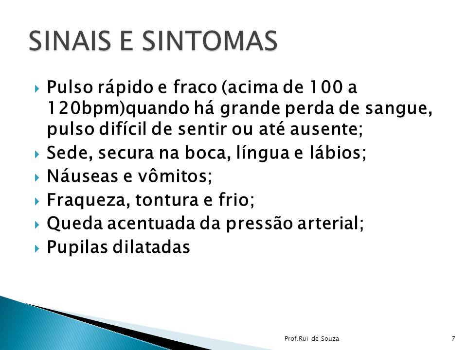 SINAIS E SINTOMAS Pulso rápido e fraco (acima de 100 a 120bpm)quando há grande perda de sangue, pulso difícil de sentir ou até ausente;