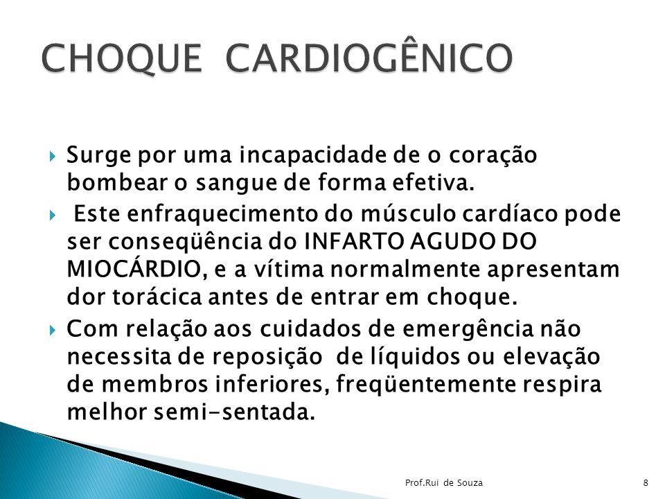 CHOQUE CARDIOGÊNICO Surge por uma incapacidade de o coração bombear o sangue de forma efetiva.