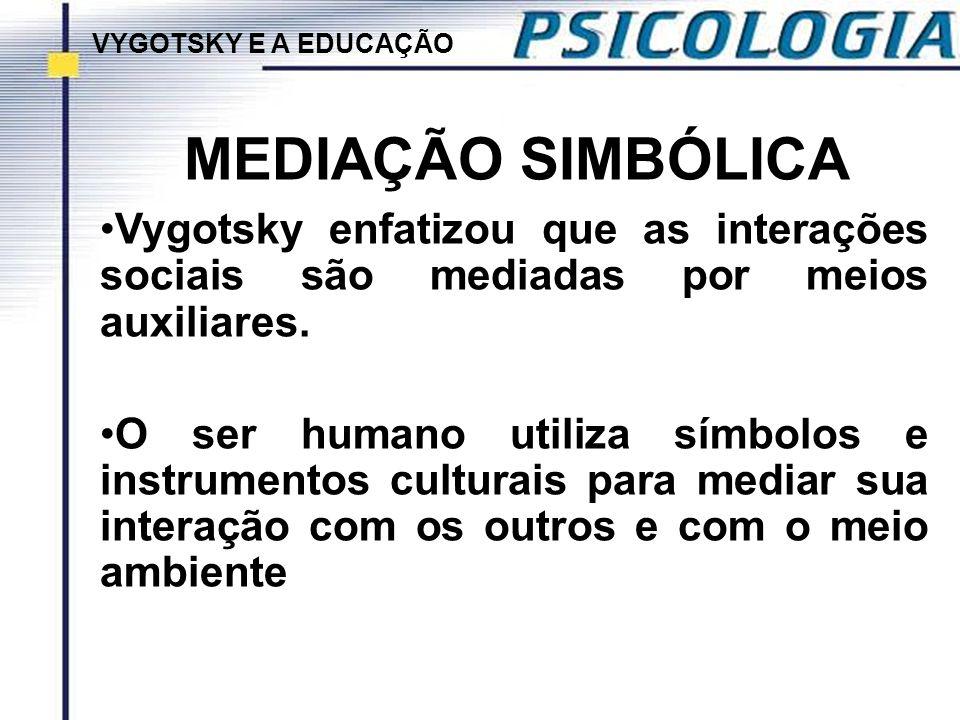VYGOTSKY E A EDUCAÇÃO MEDIAÇÃO SIMBÓLICA. Vygotsky enfatizou que as interações sociais são mediadas por meios auxiliares.
