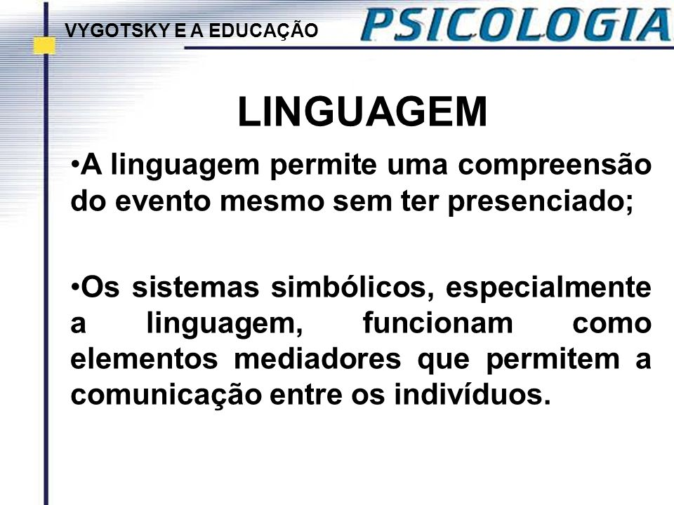 VYGOTSKY E A EDUCAÇÃO LINGUAGEM. A linguagem permite uma compreensão do evento mesmo sem ter presenciado;