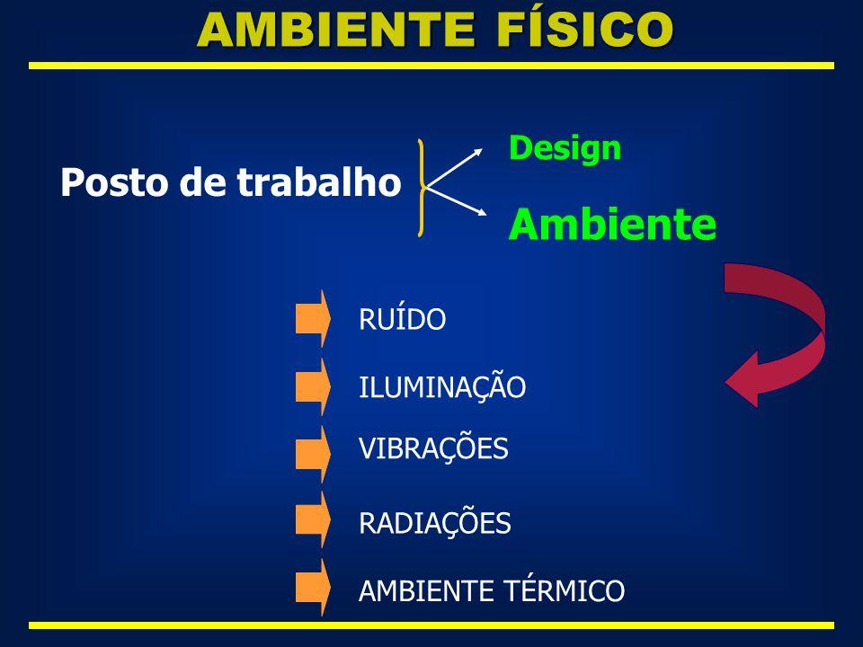 AMBIENTE FÍSICO Ambiente Posto de trabalho Design RUÍDO ILUMINAÇÃO