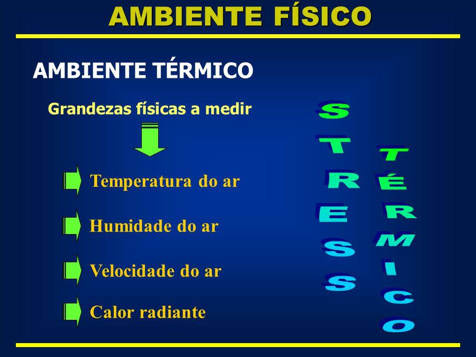 AMBIENTE FÍSICO STRESS TÉRMICO AMBIENTE TÉRMICO Temperatura do ar