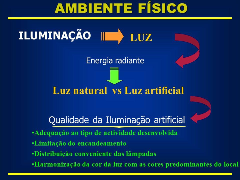 AMBIENTE FÍSICO ILUMINAÇÃO LUZ Luz natural vs Luz artificial