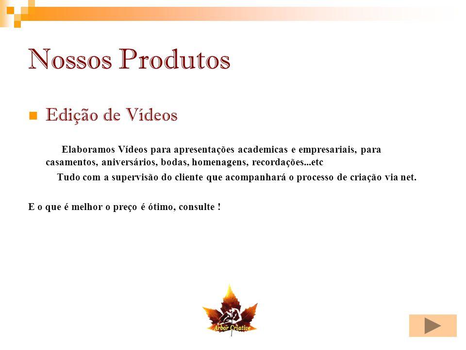 Nossos Produtos Edição de Vídeos