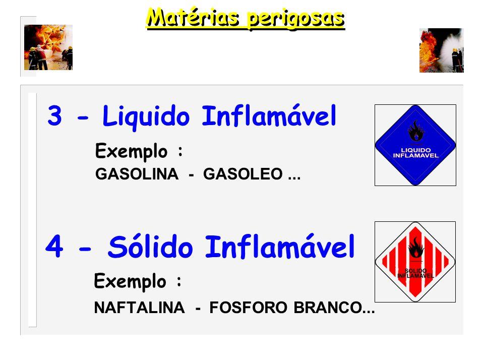 4 - Sólido Inflamável 3 - Liquido Inflamável Exemplo :
