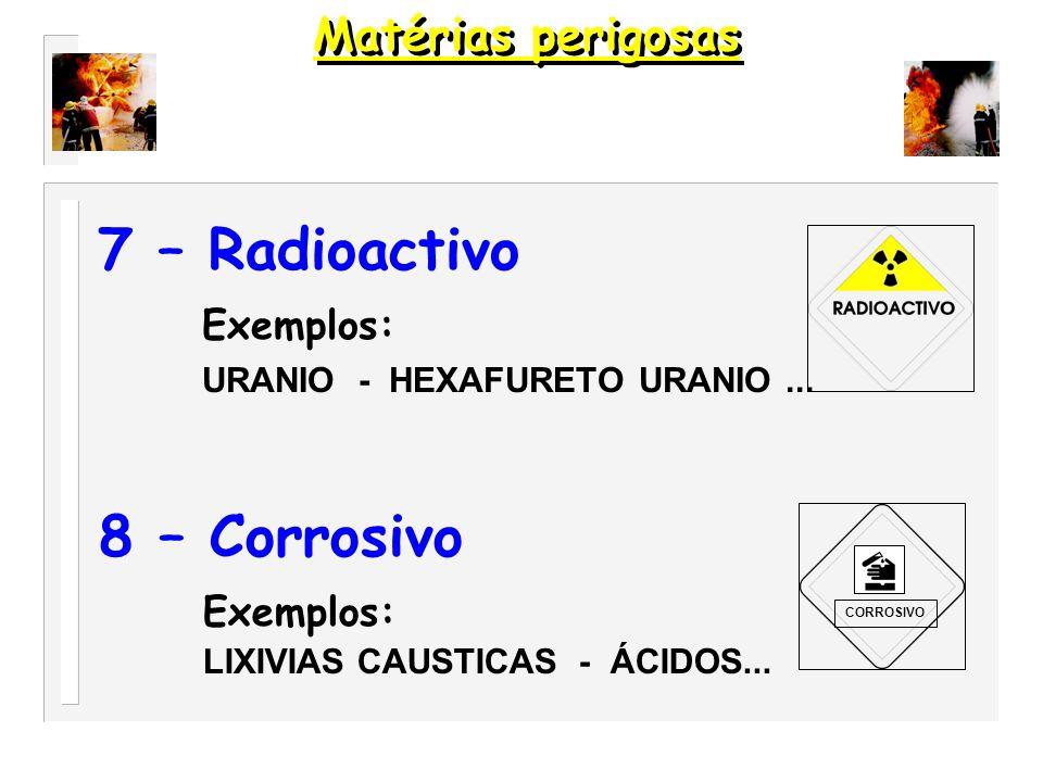 7 – Radioactivo 8 – Corrosivo Exemplos: Matérias perigosas Exemplos: