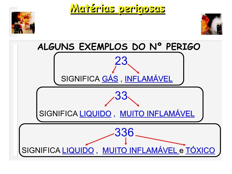 Matérias perigosas 23 33 336 ALGUNS EXEMPLOS DO Nº PERIGO