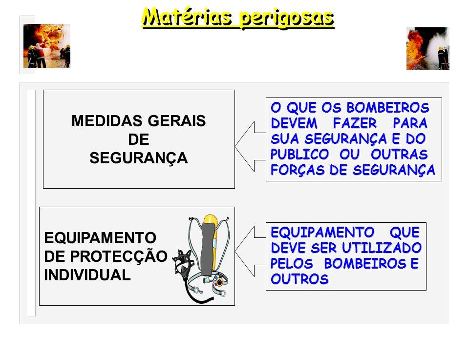 Matérias perigosas MEDIDAS GERAIS DE SEGURANÇA EQUIPAMENTO