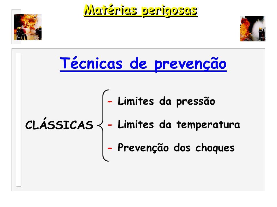 Técnicas de prevenção Matérias perigosas CLÁSSICAS