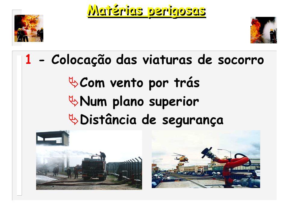Matérias perigosas 1 - Colocação das viaturas de socorro. Com vento por trás. Num plano superior.