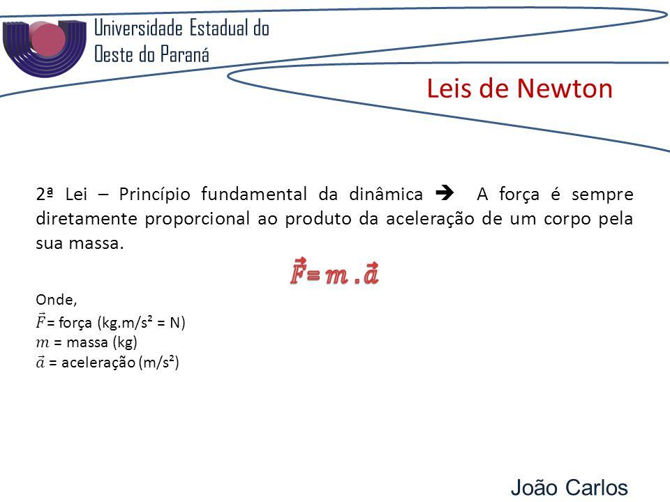 Leis de Newton 𝐹 = 𝑚 . 𝑎 Universidade Estadual do Oeste do Paraná