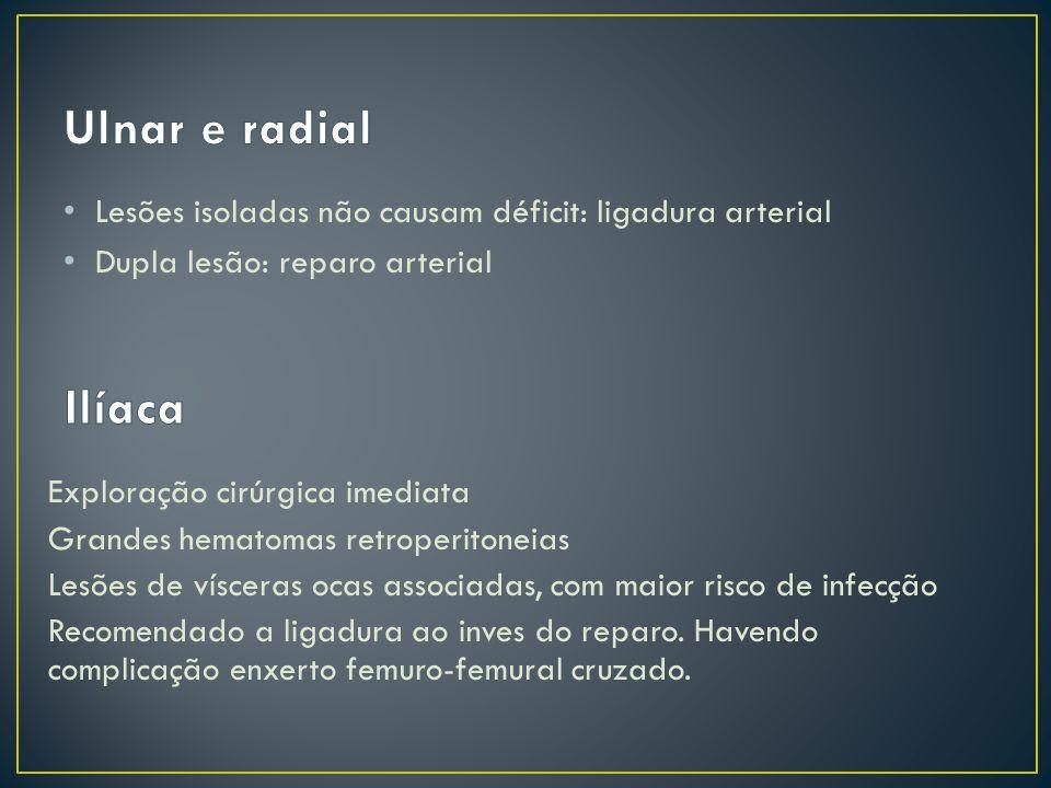 Ulnar e radial Lesões isoladas não causam déficit: ligadura arterial. Dupla lesão: reparo arterial.