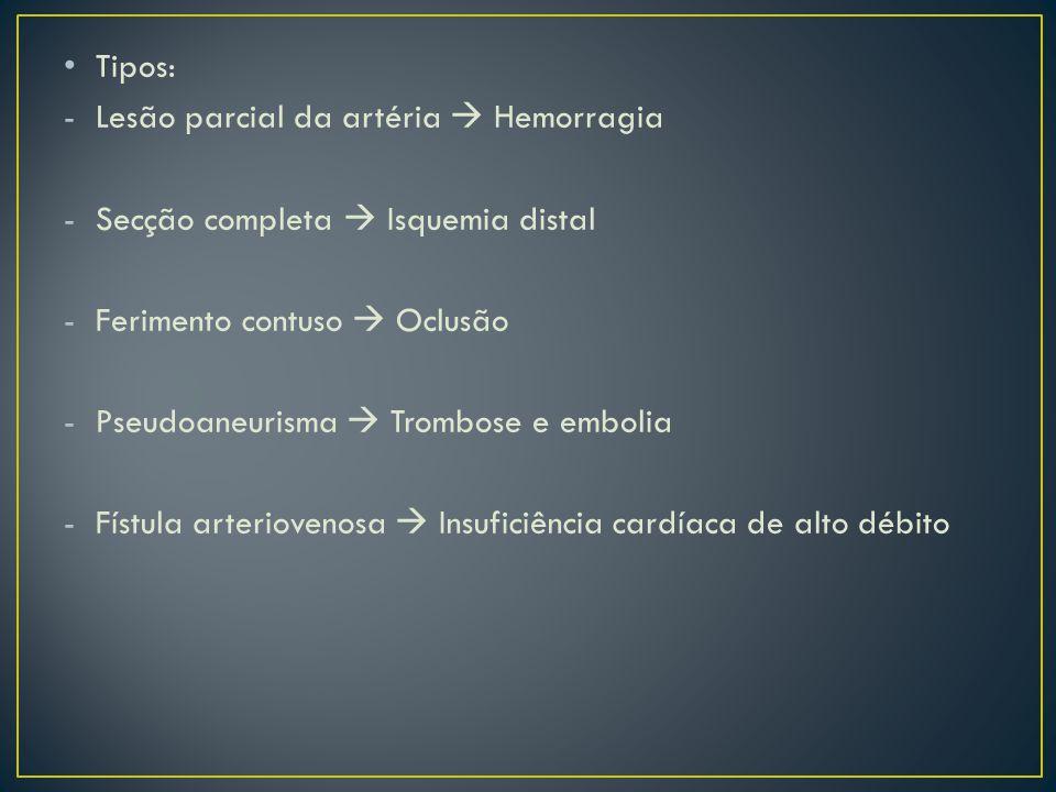 Tipos: Lesão parcial da artéria  Hemorragia. Secção completa  Isquemia distal. Ferimento contuso  Oclusão.