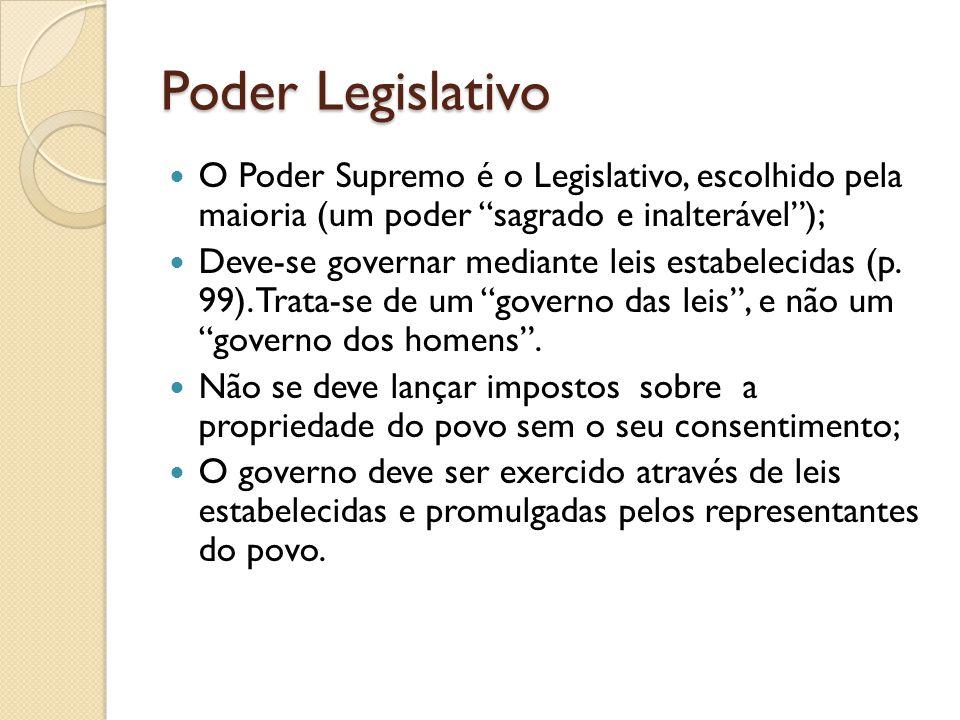 Poder Legislativo O Poder Supremo é o Legislativo, escolhido pela maioria (um poder sagrado e inalterável );