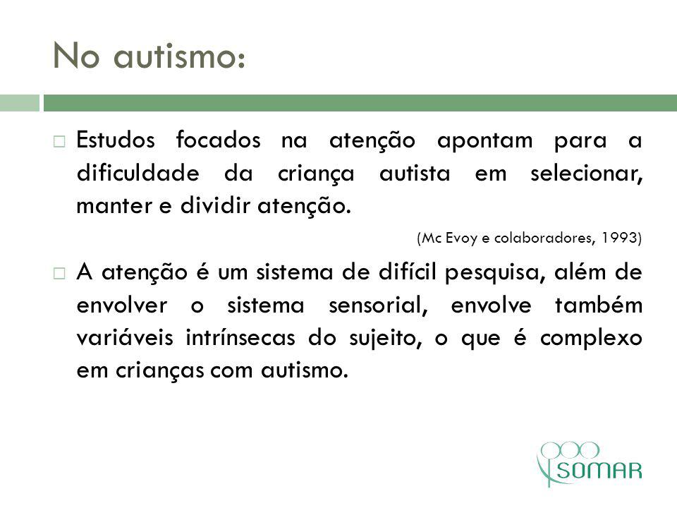 No autismo: Estudos focados na atenção apontam para a dificuldade da criança autista em selecionar, manter e dividir atenção.