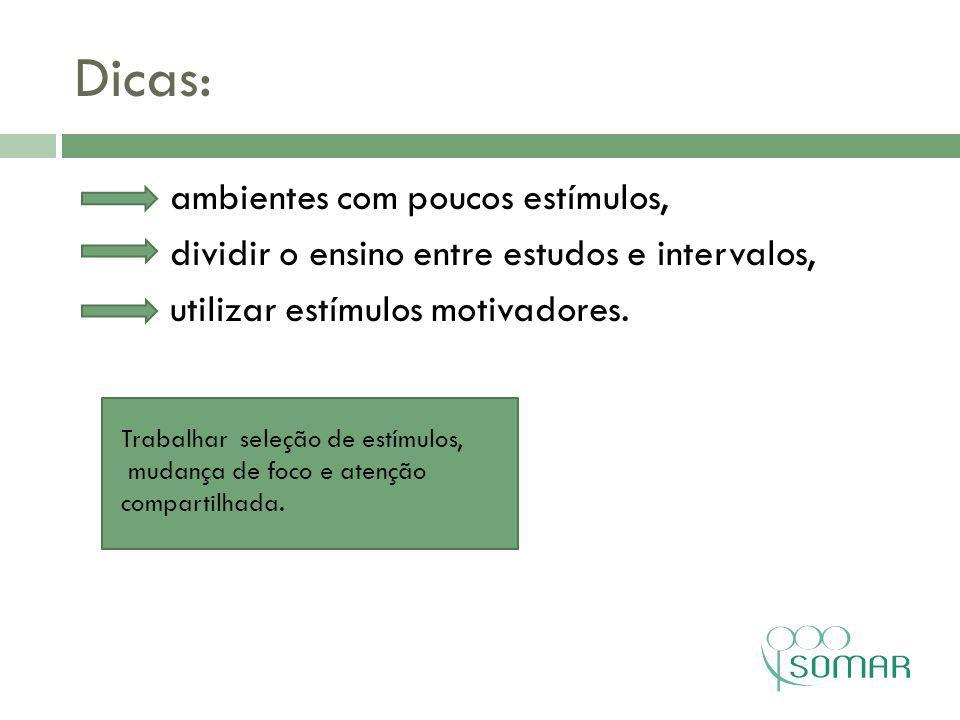 Dicas: ambientes com poucos estímulos, dividir o ensino entre estudos e intervalos, utilizar estímulos motivadores.
