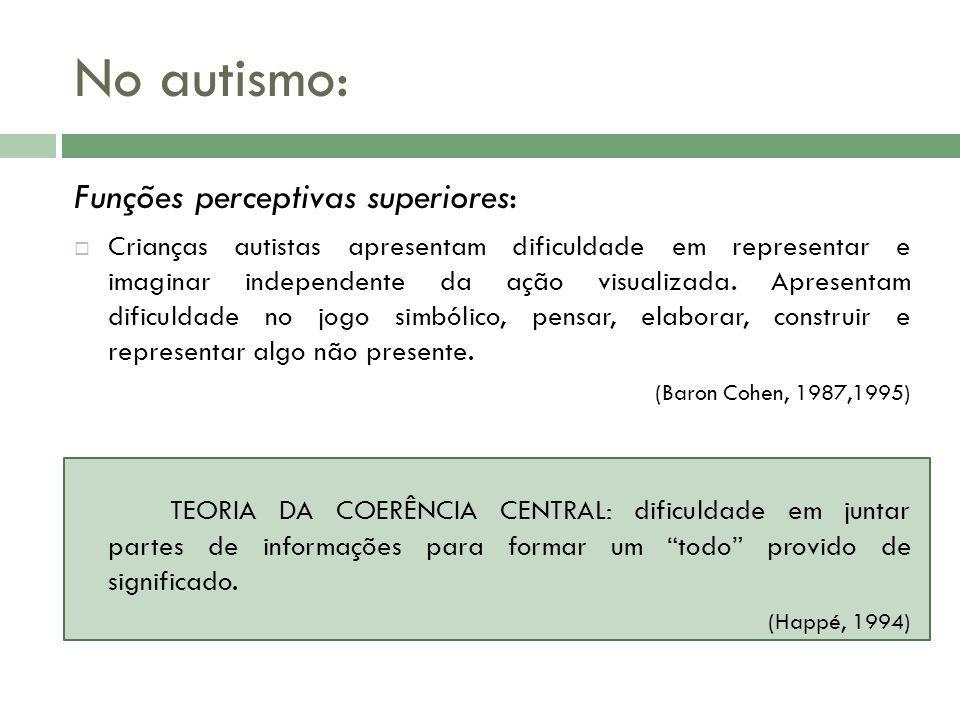 No autismo: Funções perceptivas superiores: