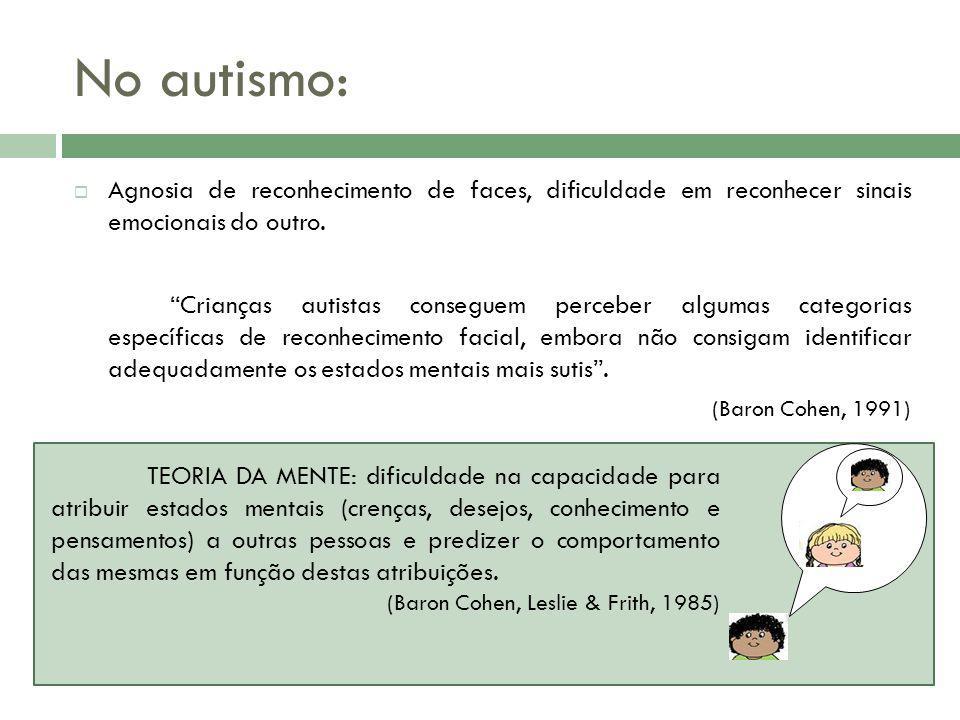 No autismo: Agnosia de reconhecimento de faces, dificuldade em reconhecer sinais emocionais do outro.