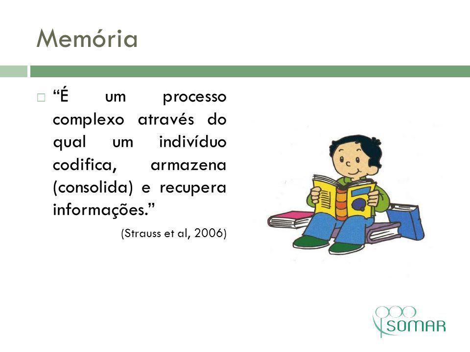 Memória É um processo complexo através do qual um indivíduo codifica, armazena (consolida) e recupera informações.