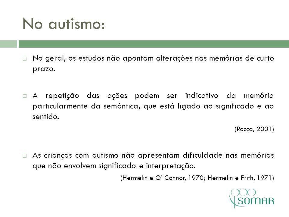 No autismo: No geral, os estudos não apontam alterações nas memórias de curto prazo.