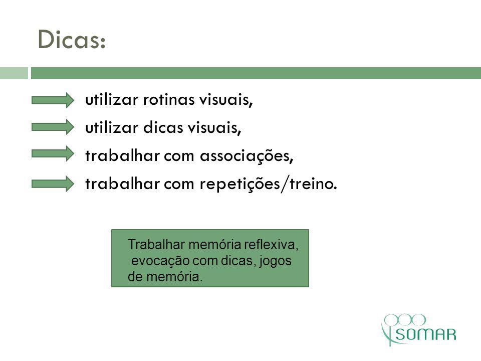 Dicas: utilizar rotinas visuais, utilizar dicas visuais, trabalhar com associações, trabalhar com repetições/treino.