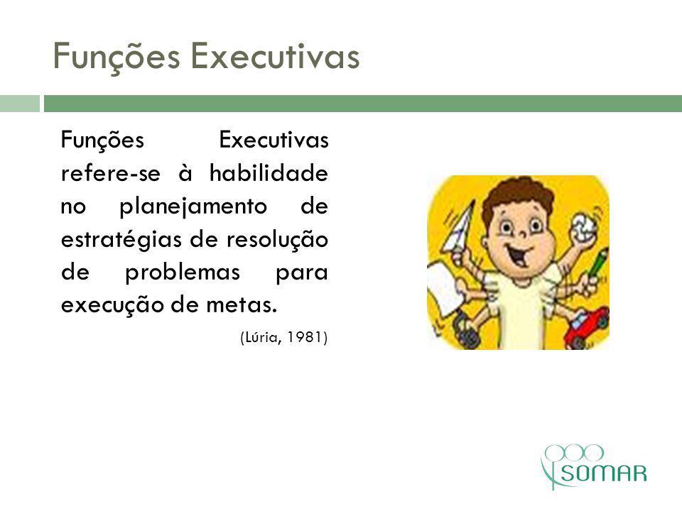 Funções Executivas Funções Executivas refere-se à habilidade no planejamento de estratégias de resolução de problemas para execução de metas.