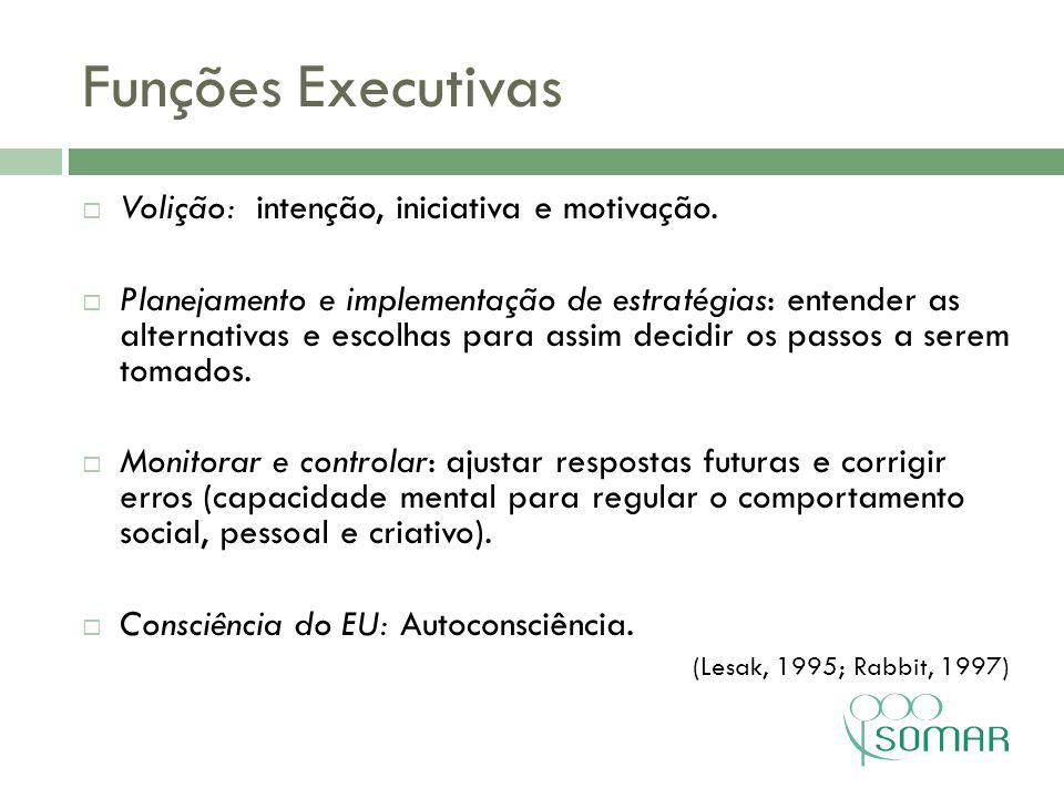 Funções Executivas Volição: intenção, iniciativa e motivação.