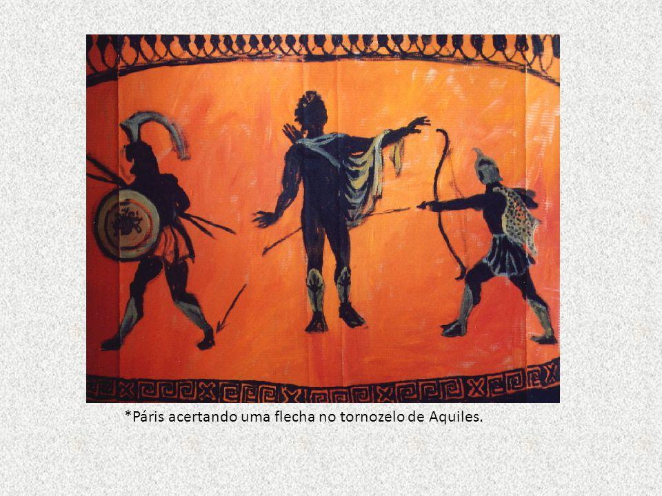 *Páris acertando uma flecha no tornozelo de Aquiles.