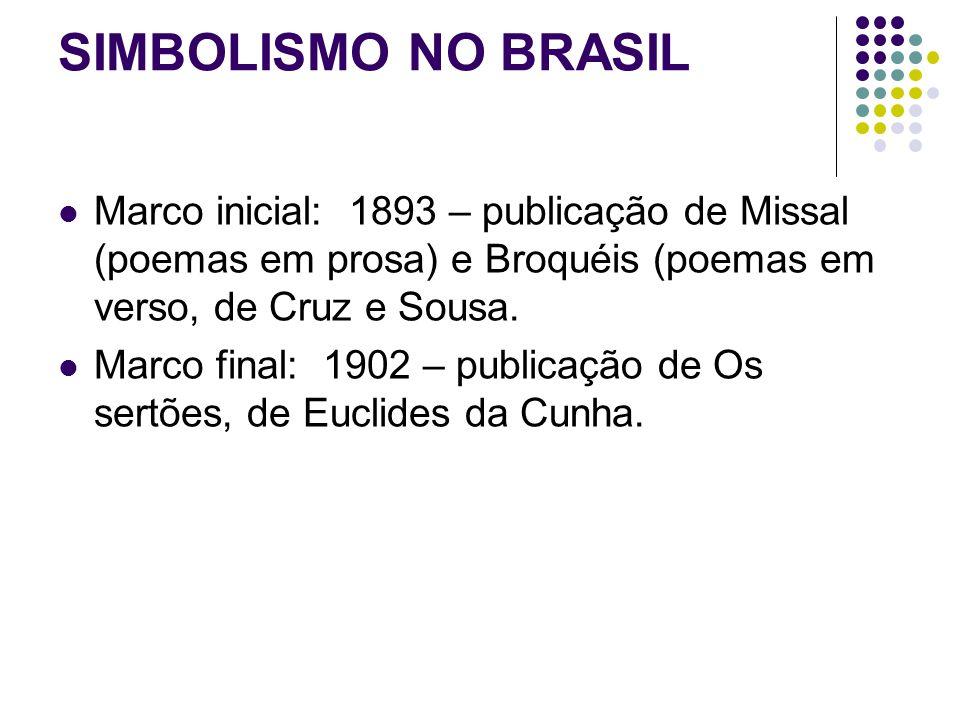 SIMBOLISMO NO BRASIL Marco inicial: 1893 – publicação de Missal (poemas em prosa) e Broquéis (poemas em verso, de Cruz e Sousa.