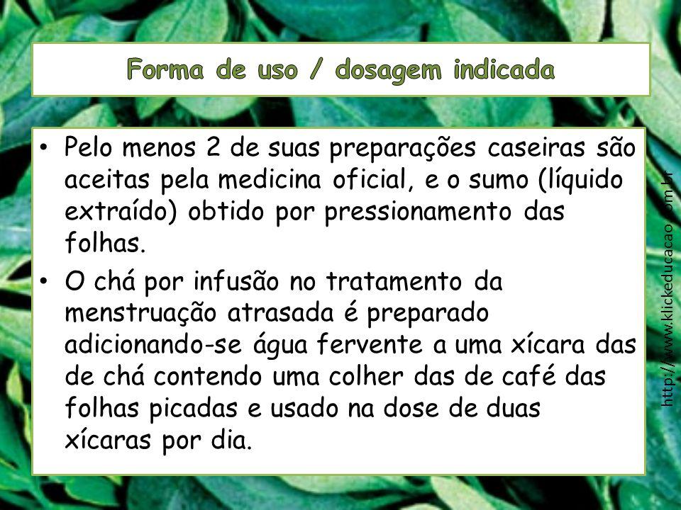 Forma de uso / dosagem indicada