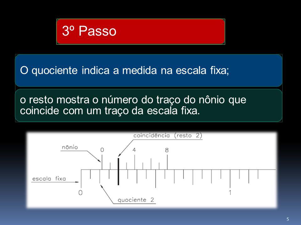 3º Passo O quociente indica a medida na escala fixa; o resto mostra o número do traço do nônio que coincide com um traço da escala fixa.