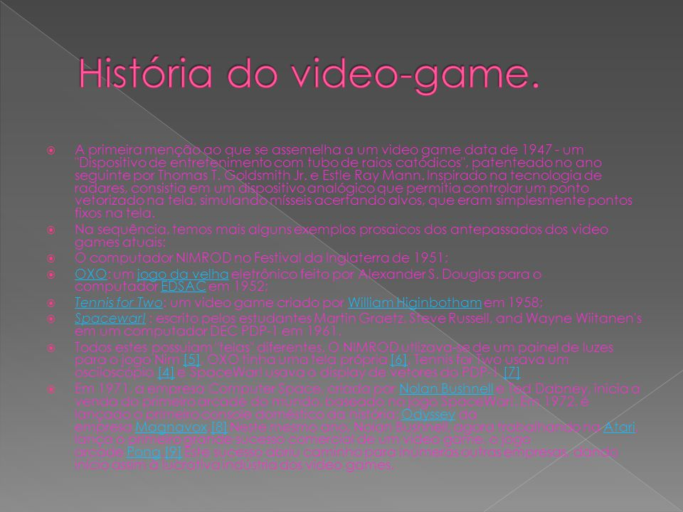 História do video-game.