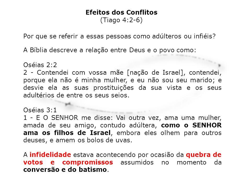 Efeitos dos Conflitos (Tiago 4:2-6) Por que se referir a essas pessoas como adúlteros ou infiéis