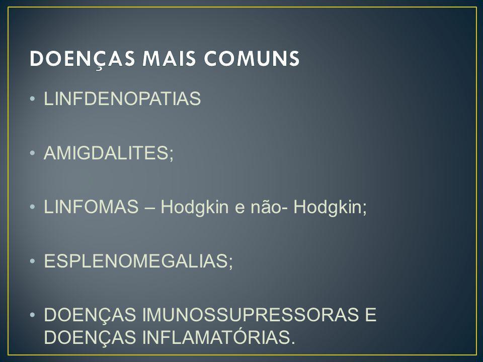 DOENÇAS MAIS COMUNS LINFDENOPATIAS AMIGDALITES;