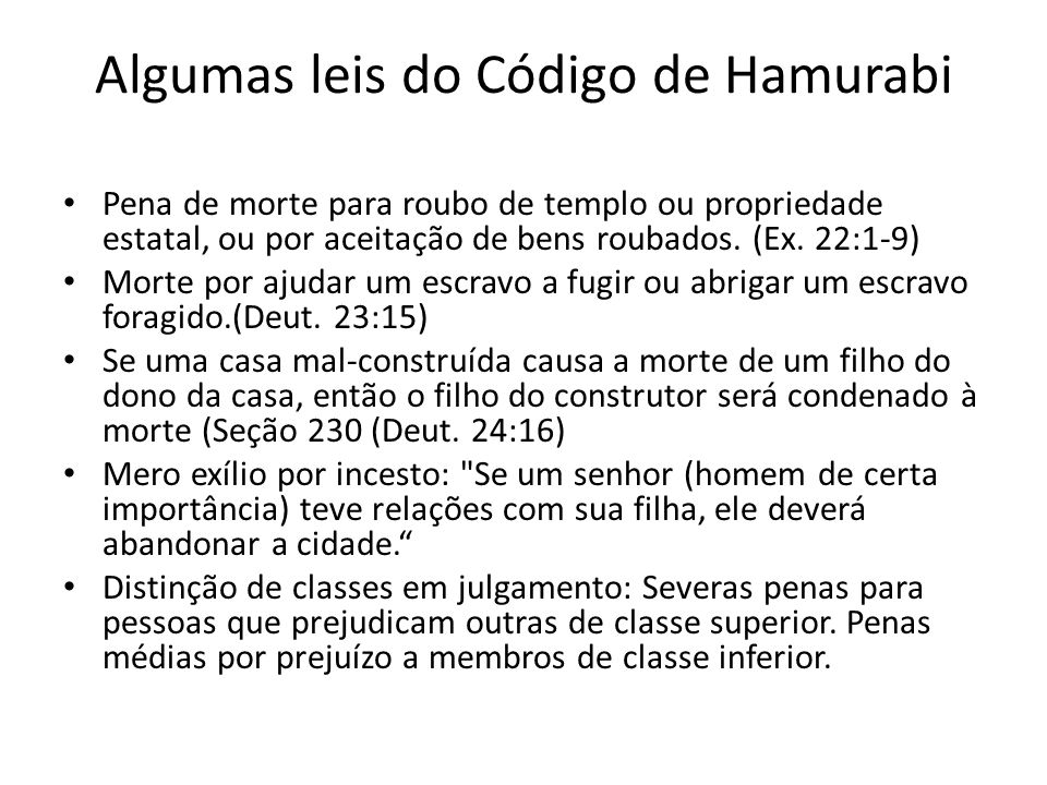 Algumas leis do Código de Hamurabi