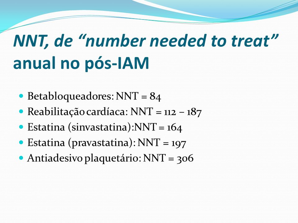 NNT, de number needed to treat anual no pós-IAM